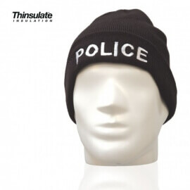 Bonnet POLICE noir maille thinsulate